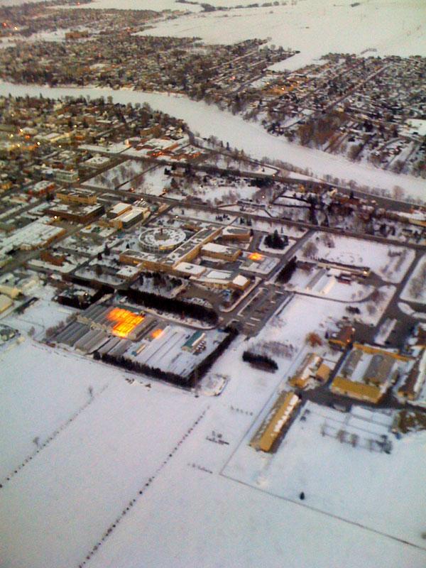 Photo aérienne de l'ITA en hiver