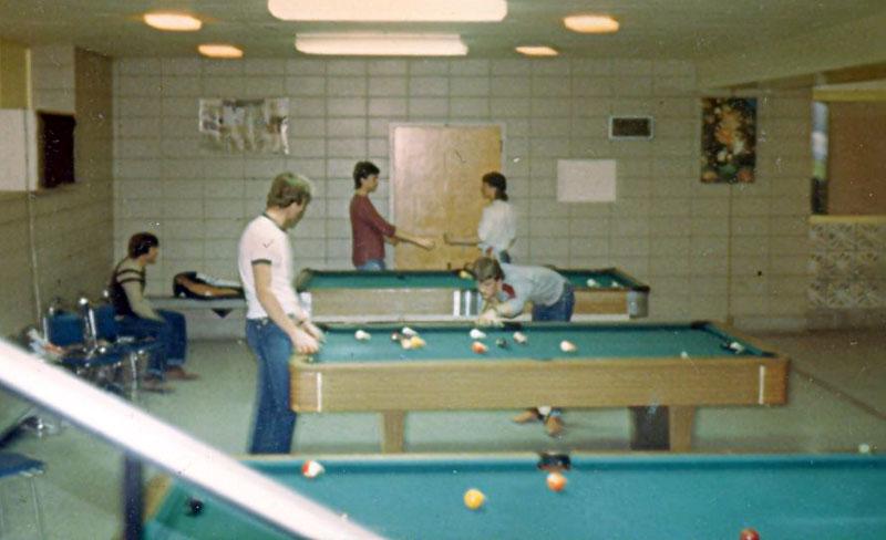 Salle de récréation des étudiants avant qu'elle ne soit installée au niveau B100
