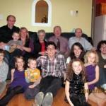Suzanne & Denis avec François, Louis, Marie-Josée et les 9 petits enfants